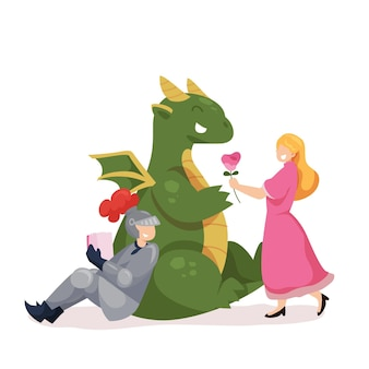 Ilustración plana diada de sant jordi con caballero, dragón y princesa