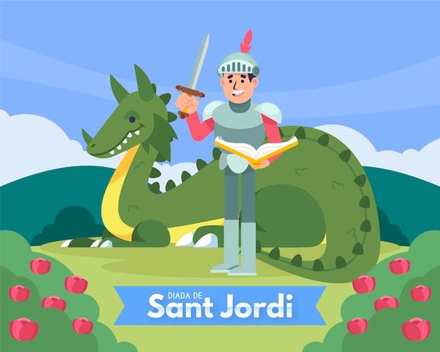 Ilustración plana diada de sant jordi con caballero y dragón