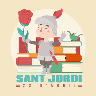 Ilustración plana diada de sant jordi con caballero sosteniendo rosa