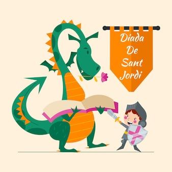 Ilustración plana diada de sant jordi con dragón y caballero