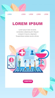 Ilustración plana diagnóstico online enfermedad paciente