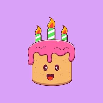 Ilustración plana de dibujos animados de personajes de pastel de cumpleaños de fresa lindo.