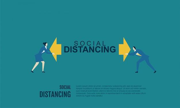 Ilustración plana de distanciamiento social de personas