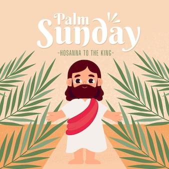 Ilustración plana del domingo de ramos