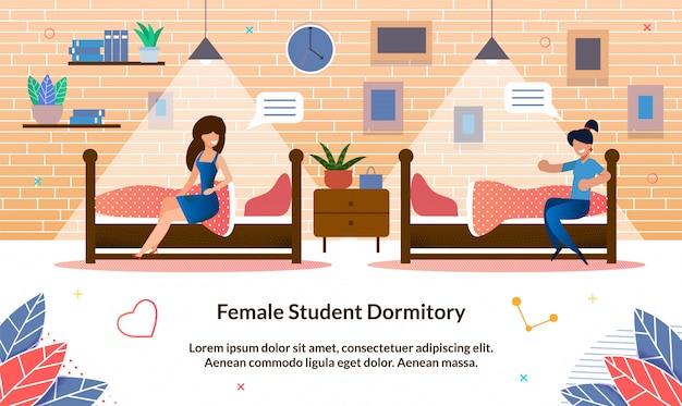 Ilustración plana dormitorio de estudiante femenino, diapositiva.
