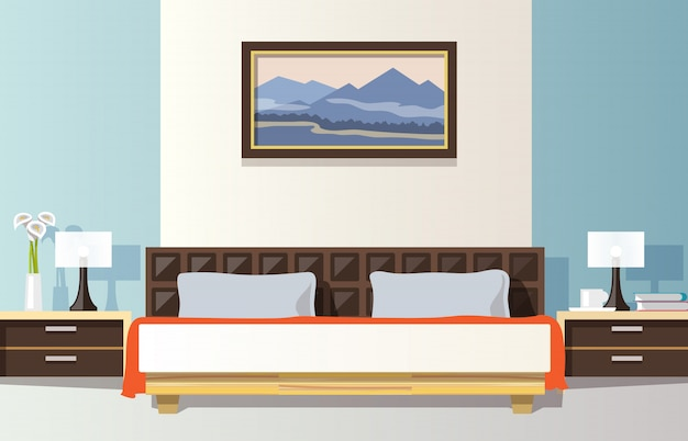 Ilustración plana del dormitorio