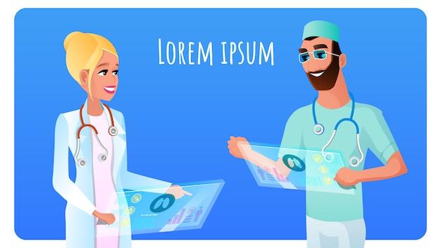Ilustración plana dos sonriente doctor hombre y mujer