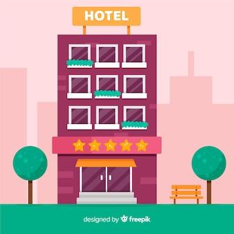 Ilustración plana edificio de hotel