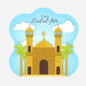 Ilustración plana de eid al-fitr