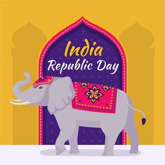 Ilustración plana del elefante del día de la república