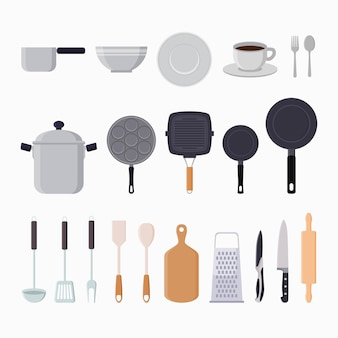 Ilustración plana de elementos gráficos de herramientas de cocina