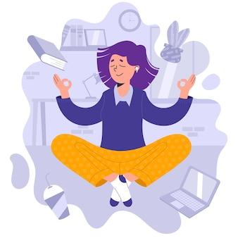 Ilustración plana empresaria meditando