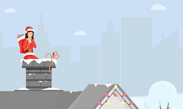 Ilustración plana de entrega de regalos de navidad