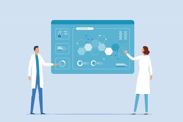 Ilustración plana el equipo médico y los científicos investigan en el laboratorio de laboratorio para el concepto de vacuna contra la medicina viral