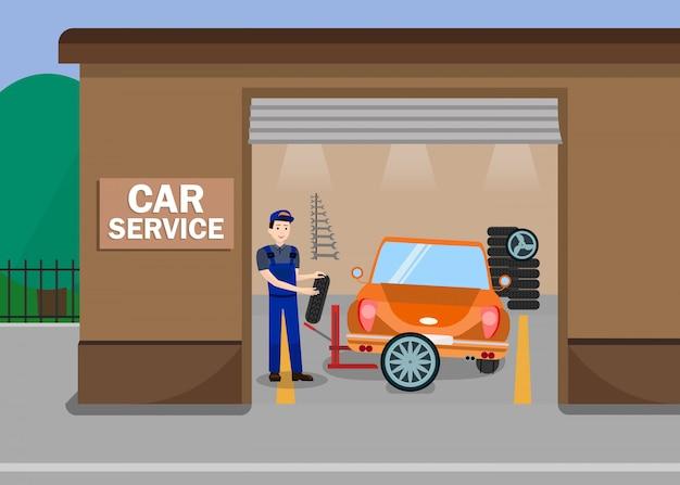 Ilustración plana de la estación de servicios de automóviles