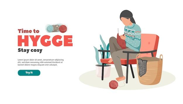 Ilustración plana de estilo de vida hygge de mujer tejiendo y texto editable con botón de prueba