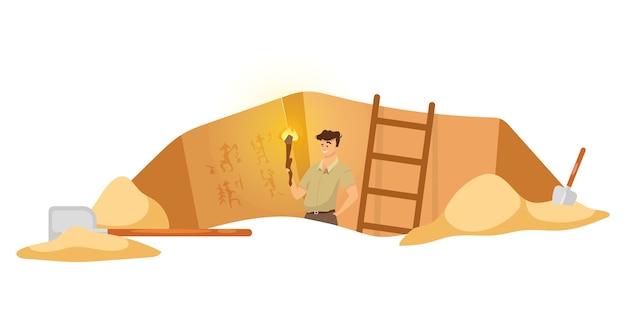 Ilustración plana de excavación. investigador masculino en sitio arqueológico, hombre observa pinturas murales. descubrimiento de cuadros de pared egipcios. hoyo de tierra en áfrica. fondo de dibujos animados de expedición