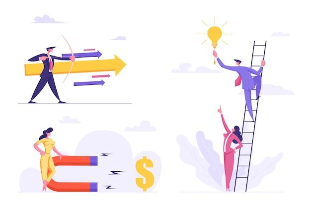 Ilustración plana de éxito empresarial