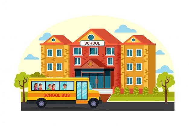 Ilustración plana exterior del edificio escolar