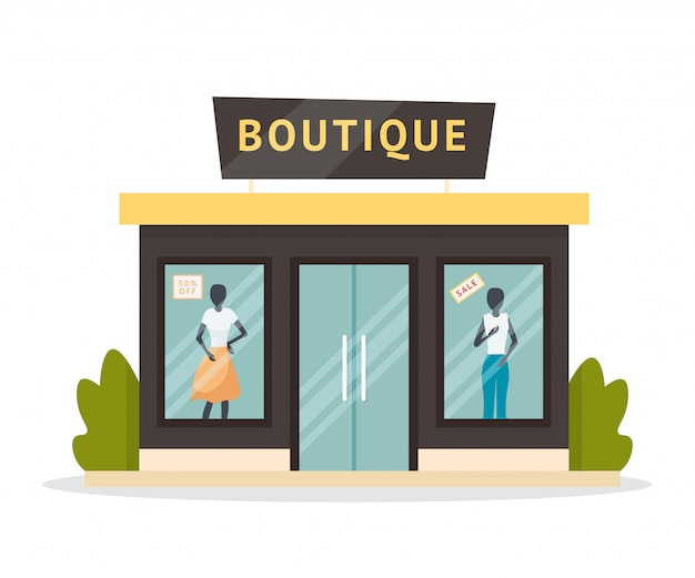 Ilustración plana de fachada de boutique de moda