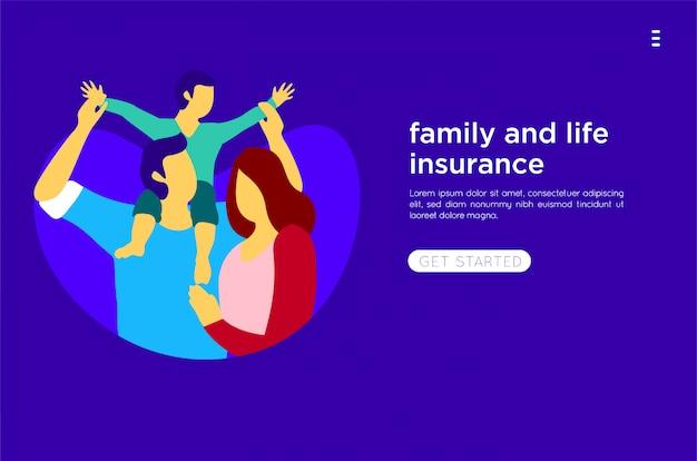 Ilustración plana familia feliz