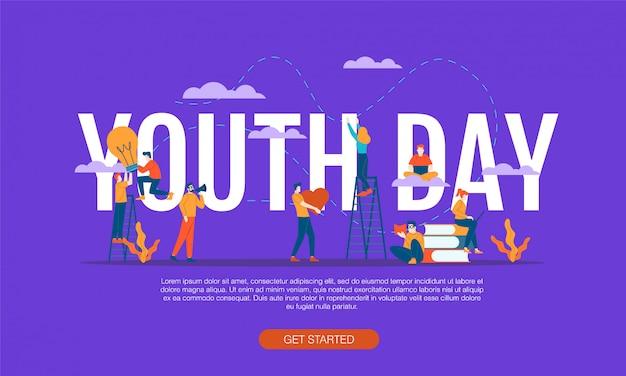 Ilustración plana feliz día de la juventud
