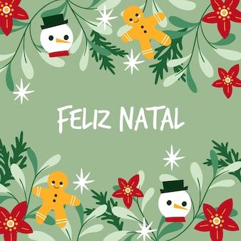 Ilustración plana feliz natal