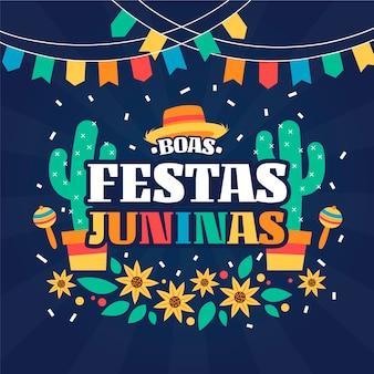 Ilustración plana de festa junina