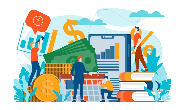 Ilustración plana de finanzas fiscales