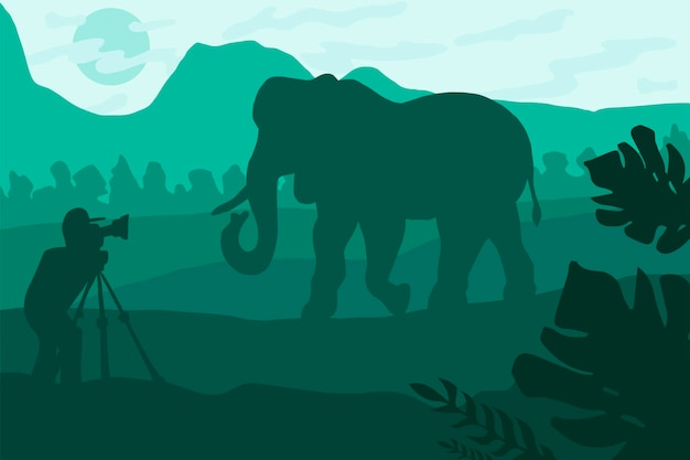 Ilustración plana de fotógrafo de vida silvestre. paisaje nocturno minimalista con silueta de elefante