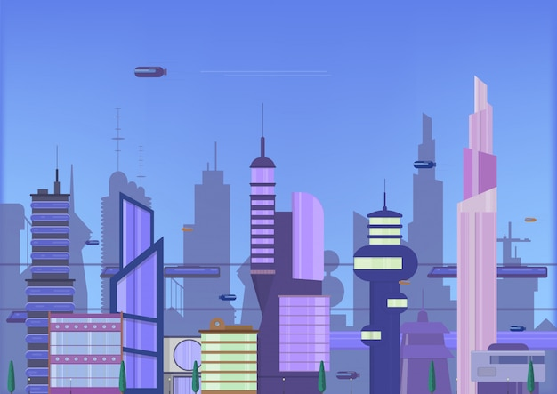 Ilustración plana de la futura ciudad. plantilla de paisaje urbano con edificios modernos y tráfico futurista.