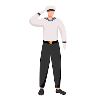Ilustración plana de la gente de mar. ocupación marítima en marina de pasajeros o mercante. marinero en uniforme de trabajo. personaje de dibujos animados aislado marinero sobre fondo blanco