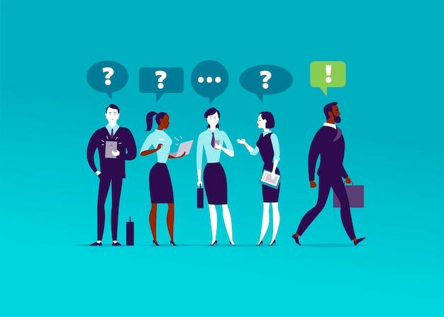 Ilustración plana con gente de oficina parados juntos preguntándose. empresario caminando por delante de la solución inspirada. aspiraciones, confianza en ti mismo, motivación, simplemente hazlo, liderazgo, nueva meta - metáfora.