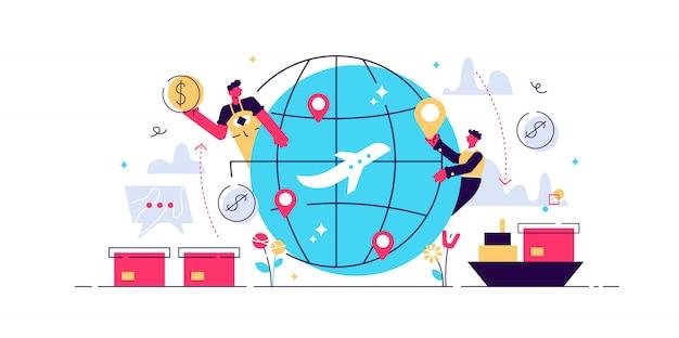 Ilustración plana de globalización, concepto de conexión de personas en todo el mundo. transporte de carga comercial y relaciones de redes comerciales internacionales. tecnología de internet de internet