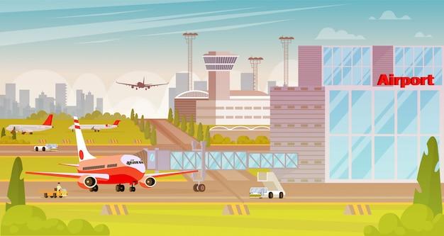 Ilustración plana de la gran ciudad del territorio del aeropuerto.