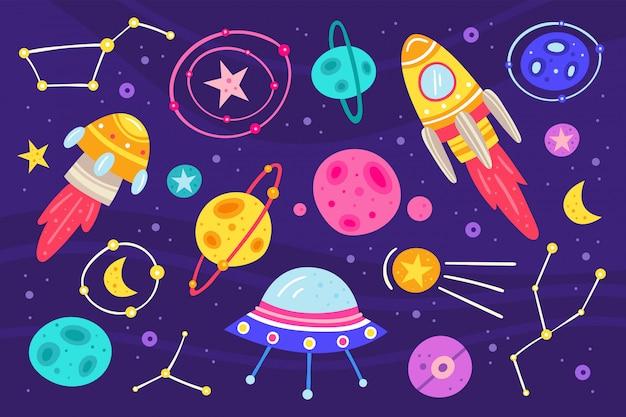 Ilustración plana de gran espacio, conjunto de elementos, iconos. conjunto de pegatinas