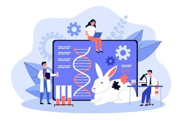 Ilustración plana del grupo científico investigador de ingeniería genética