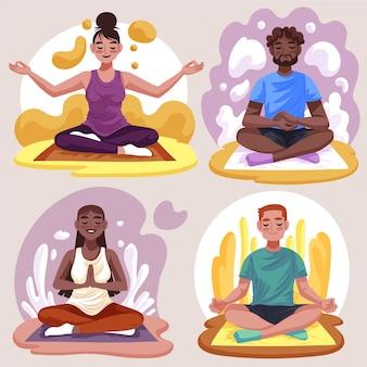 Ilustración plana grupo de personas meditando