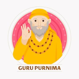 Ilustración plana guru purnima