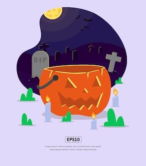 Ilustración plana, halloween con calabaza y lápida para diseño web, aplicación, infografía, impresión, etc.