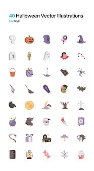 Ilustración plana de halloween