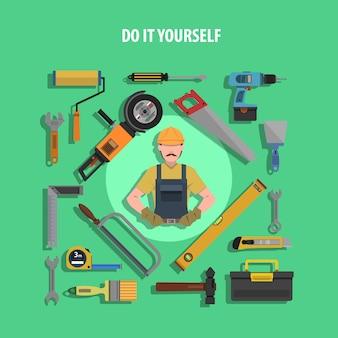 Ilustración plana de herramientas concepto