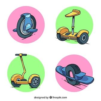 Ilustración plana de hombre/mujer montando patinete eléctrico
