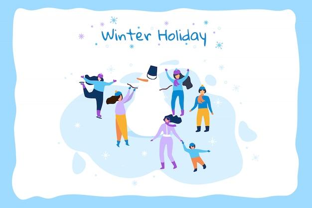 Ilustración plana horizontal marco azul de vacaciones de invierno.