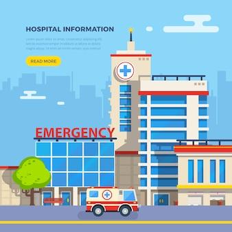 Ilustración plana del hospital
