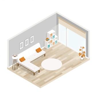Ilustración plana de hotel de ciudad con muebles de sala.