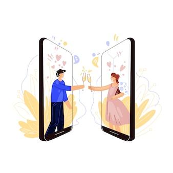Ilustración plana de la industria de citas en línea. feliz hombre y mujer, tintinean copas de vino o champán, con romántica noche remota y fecha. concepto virtual de amor y fecha.