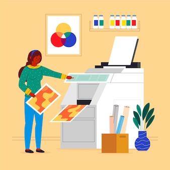Ilustración plana de la industria de la impresión