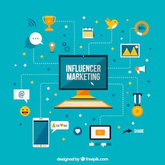 Ilustración plana de influyente de marketing