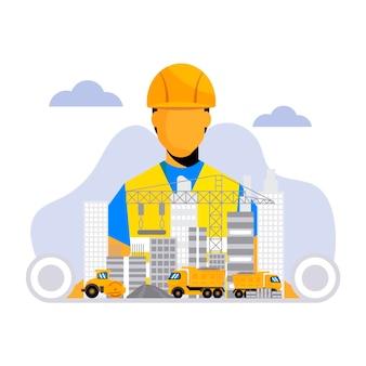 Ilustración plana de ingeniería y construcción.